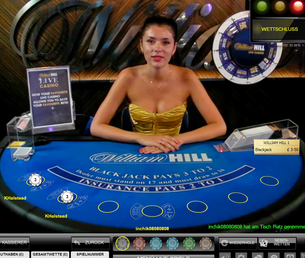 William Hill Live Casino Blackjack